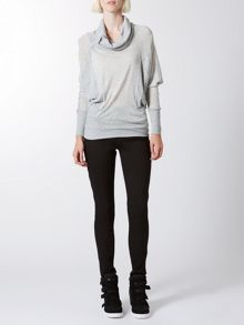 Chiffon knit panel jumper
