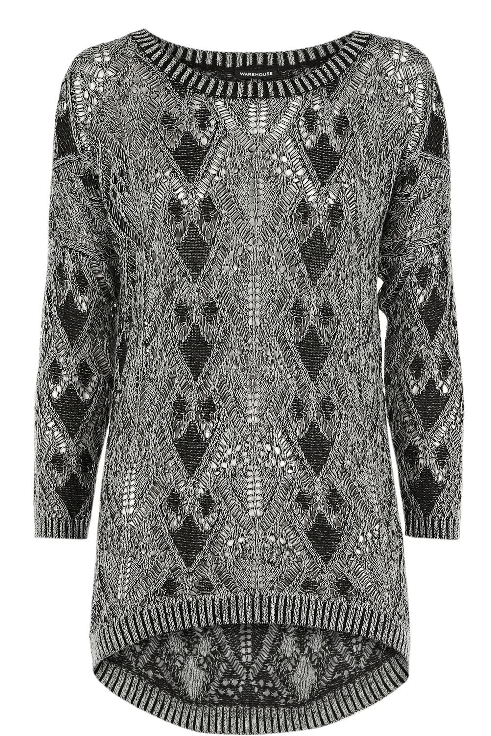 Geo pointelle two tone jumper