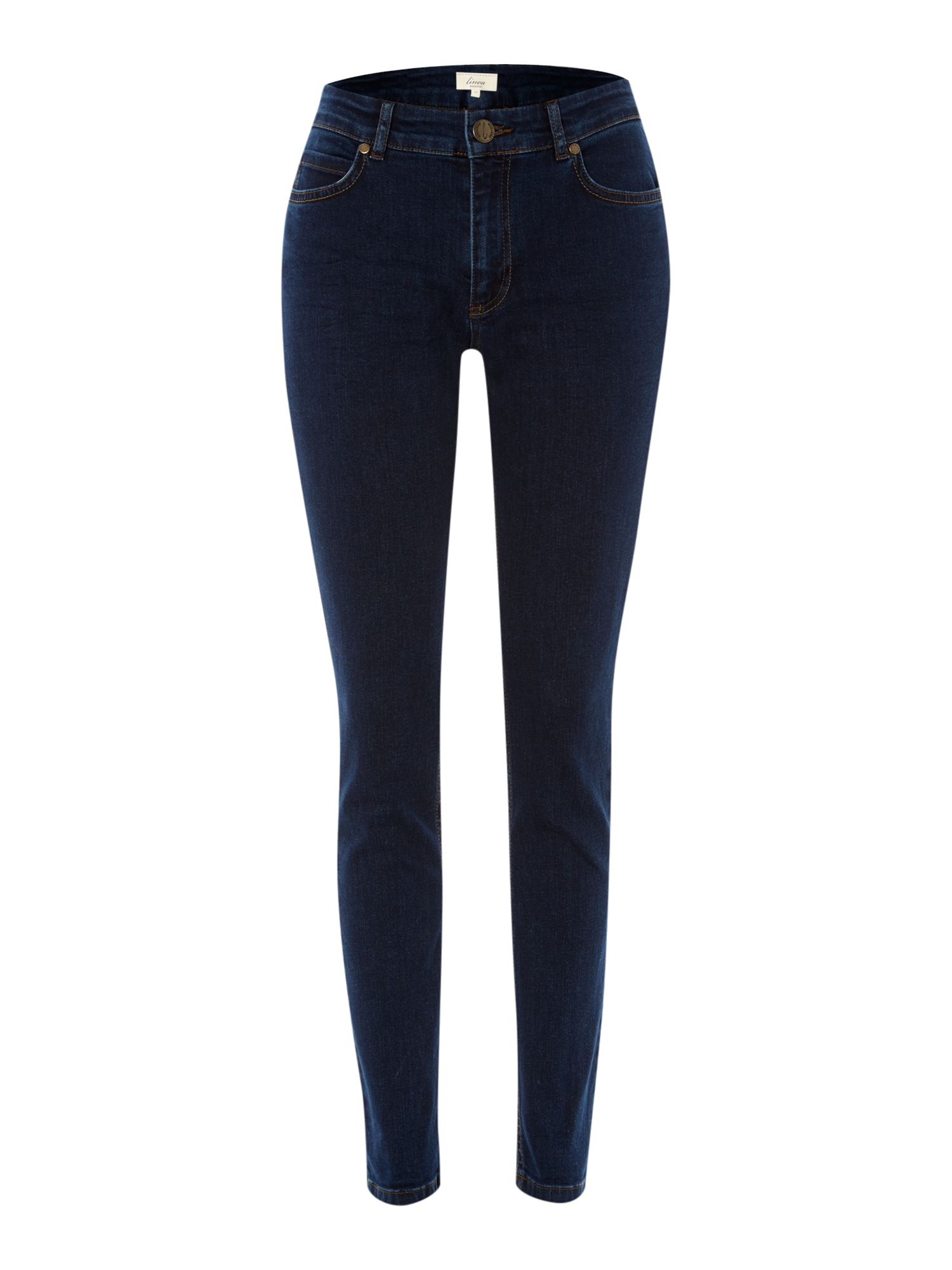 Ladies dark indigo slim leg jeans