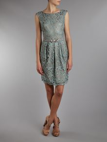 Eliza J Lace Belted Shift dress