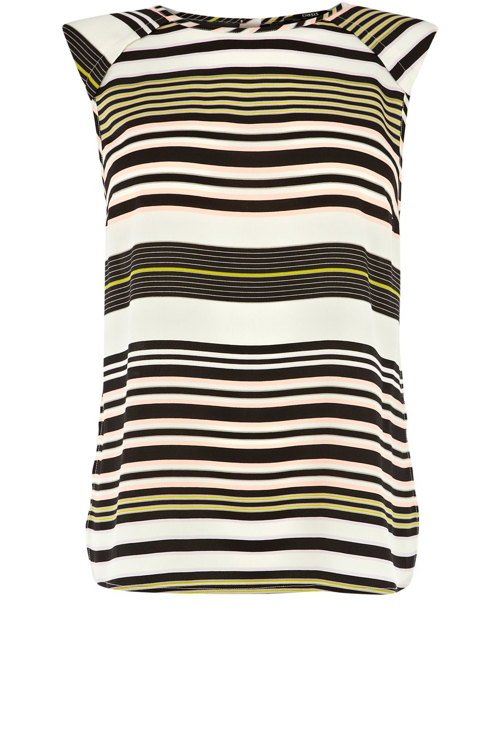 Stripe shoulder pad tee
