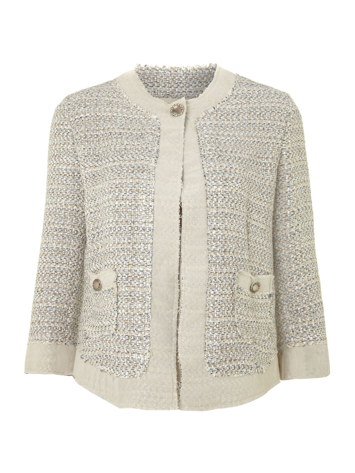 Long sleeved studded sleeve boucle jacket