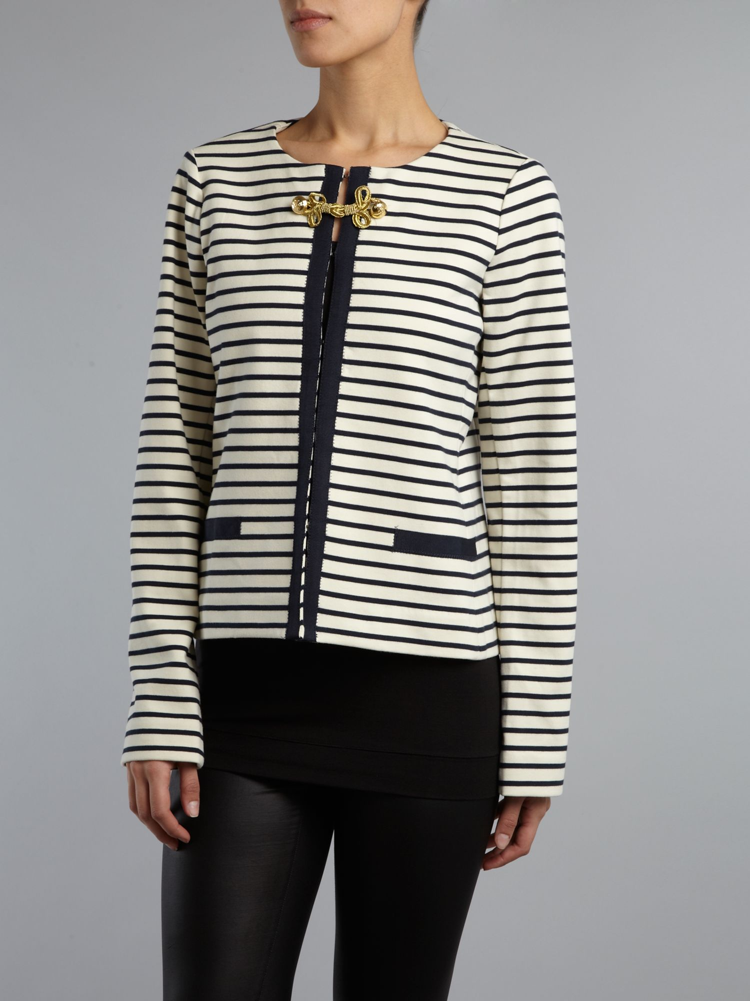 Long sleeved nautical striped jacket