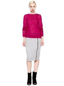 Lace crew knit