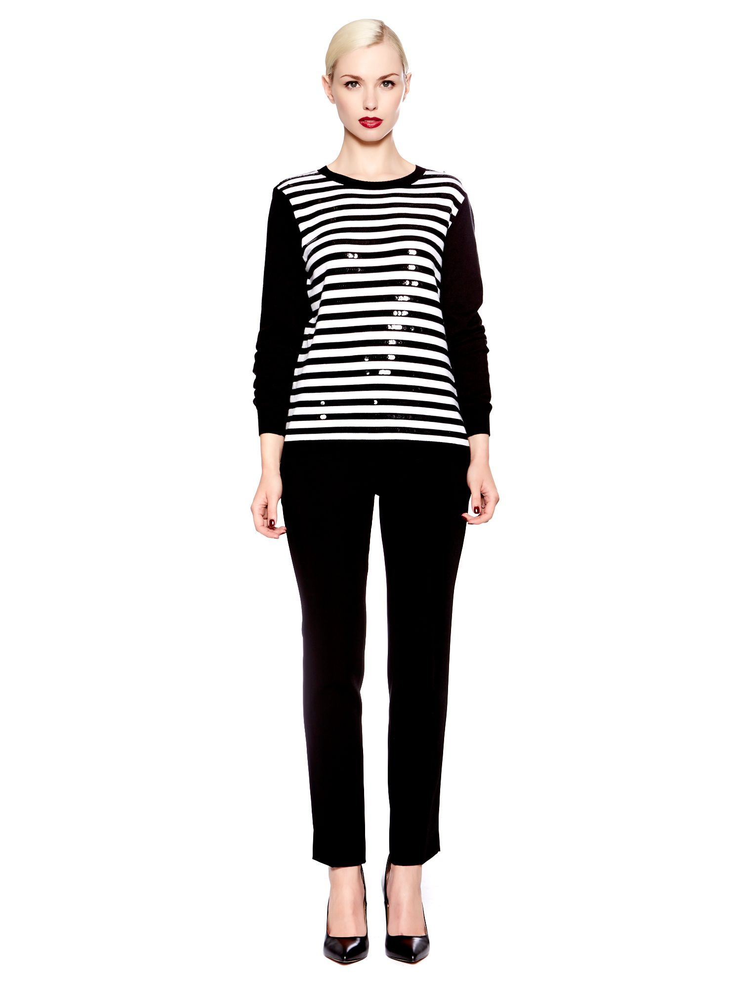 Panda stripe crew knit