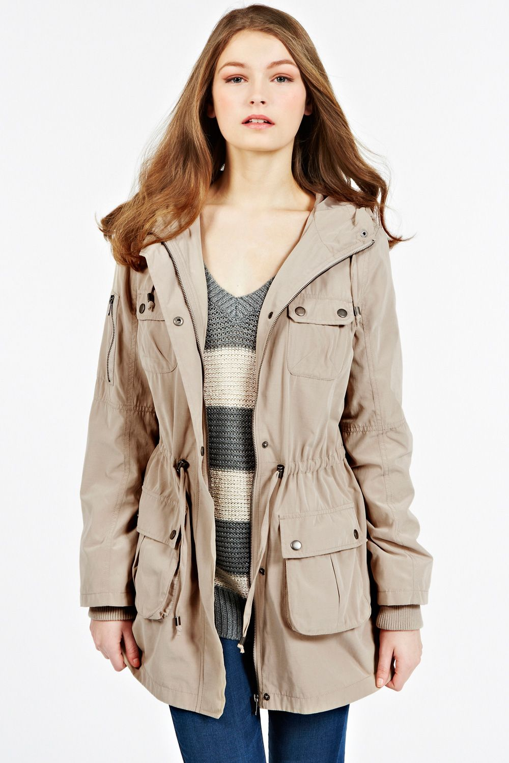 Dip hem parka jacket longer length