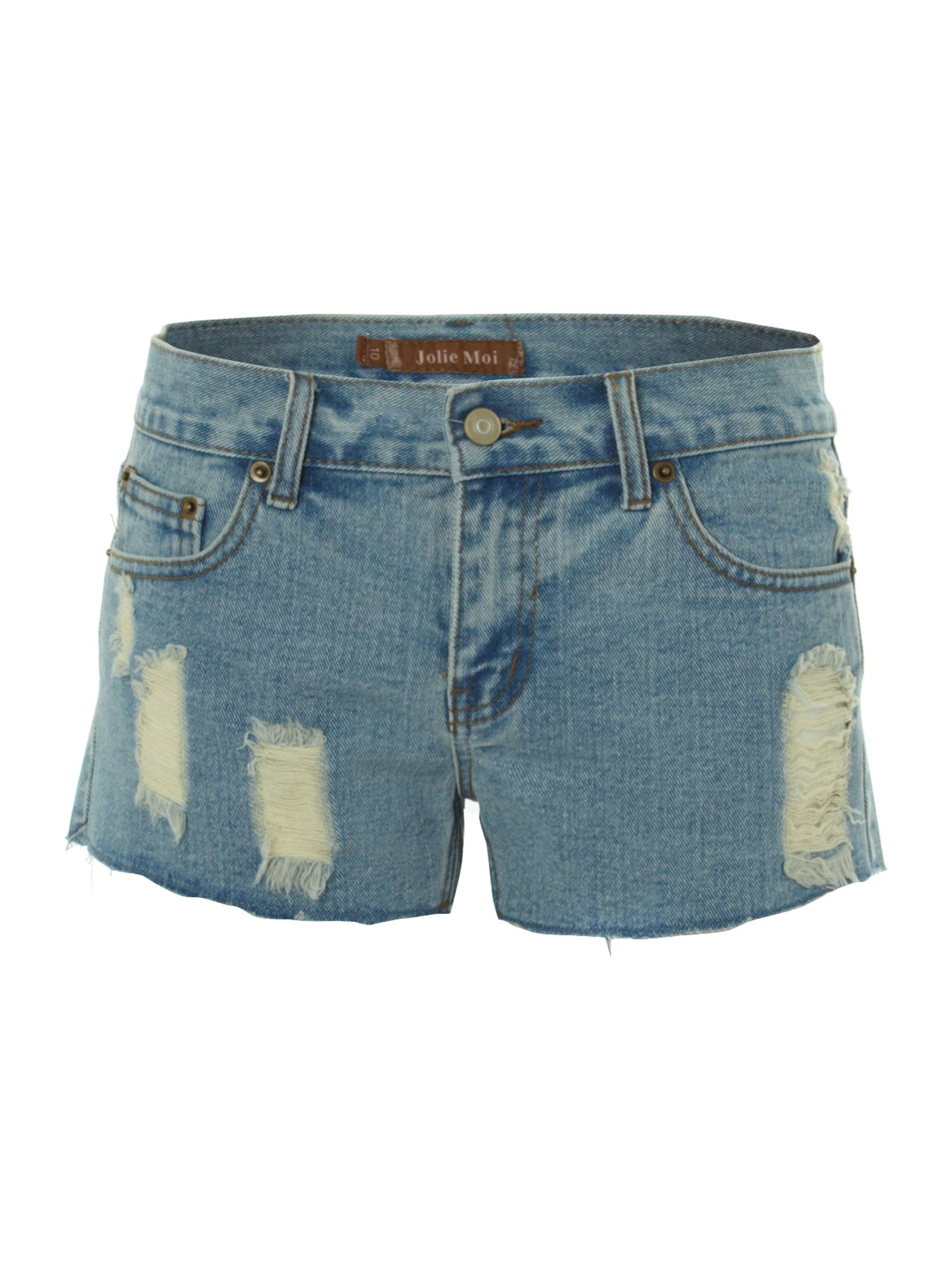 Distressed look denim shorts