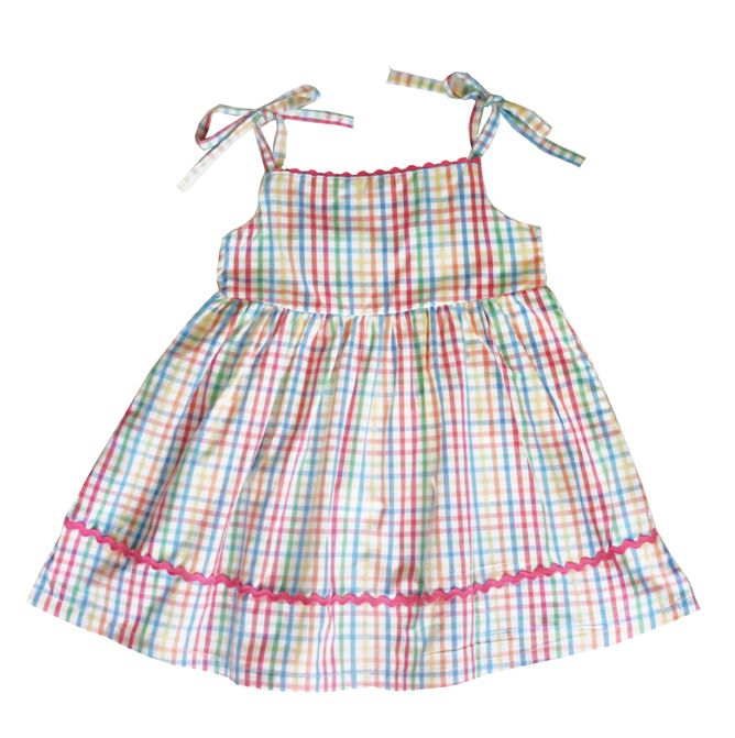 Girl`s tie smock dress in check
