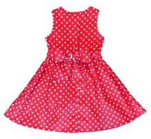 Girl`S Party Dress In Red With White Dots