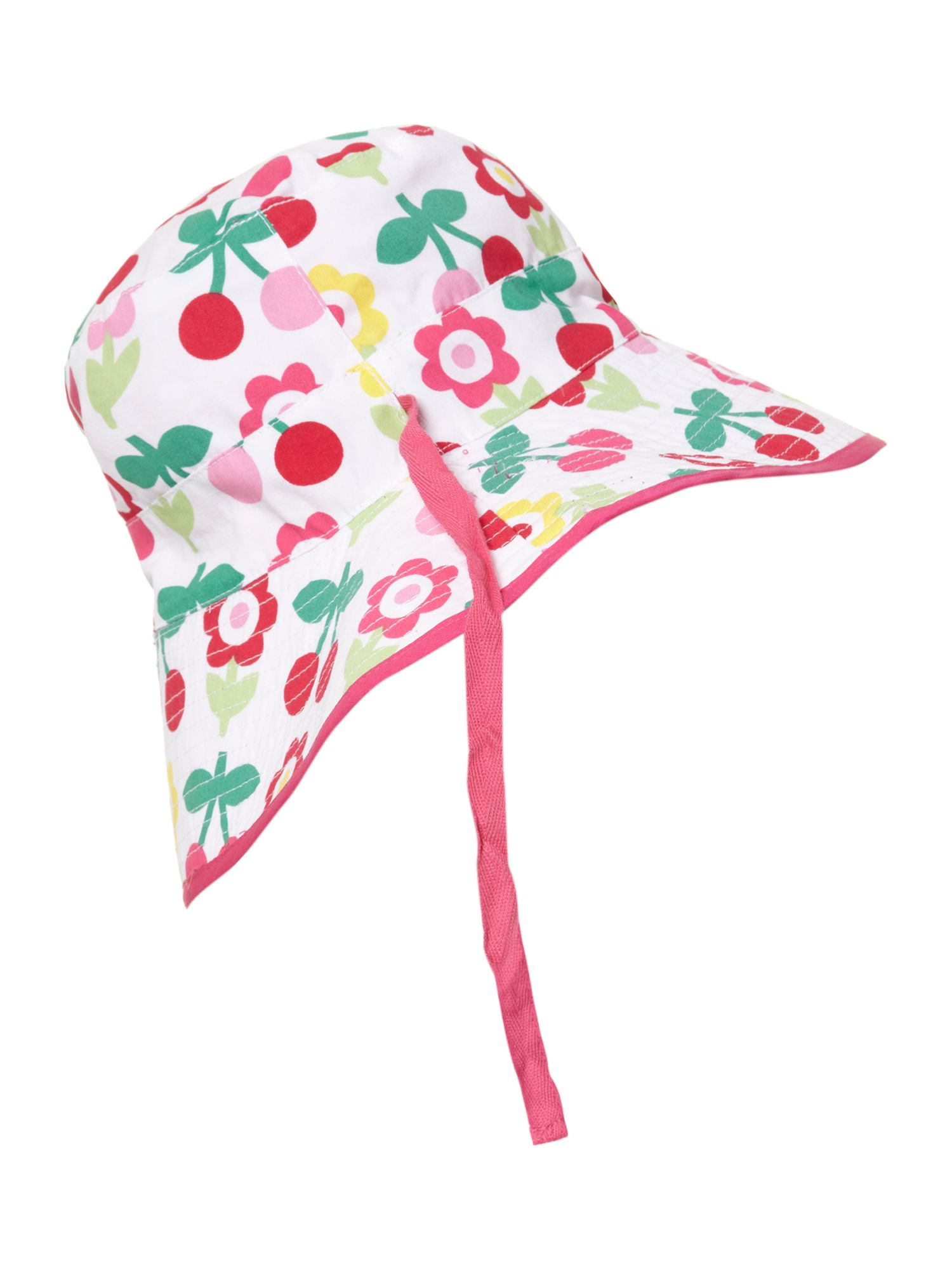 Girl`s reversible sunhat in cherry flower