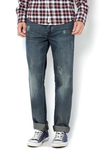Rip and repair slim fit green wash jeans