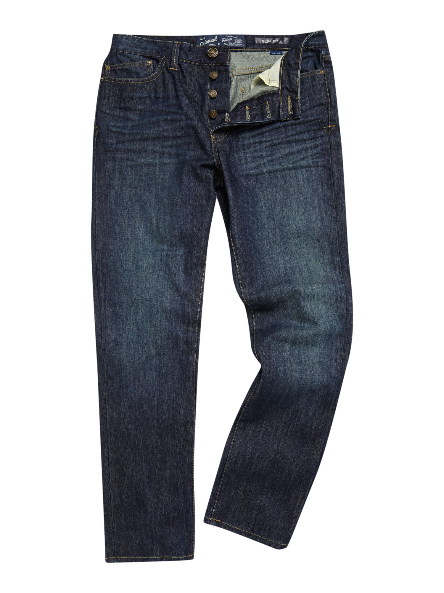 Green tint washed slim fit jeans