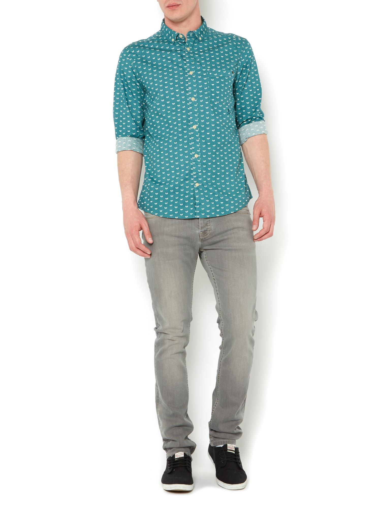 Warren teal print shirt