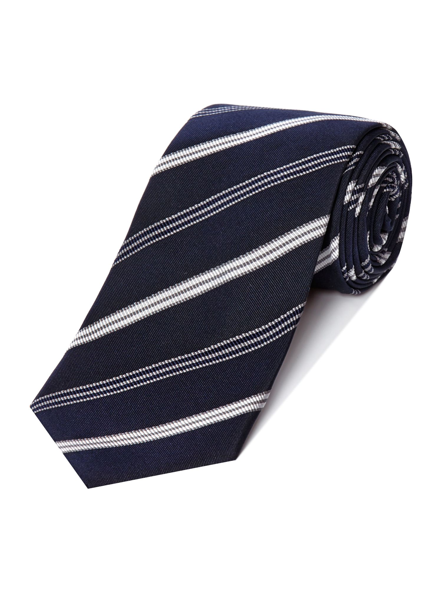 Duffy Stripe Rib Silk Cotton Tie