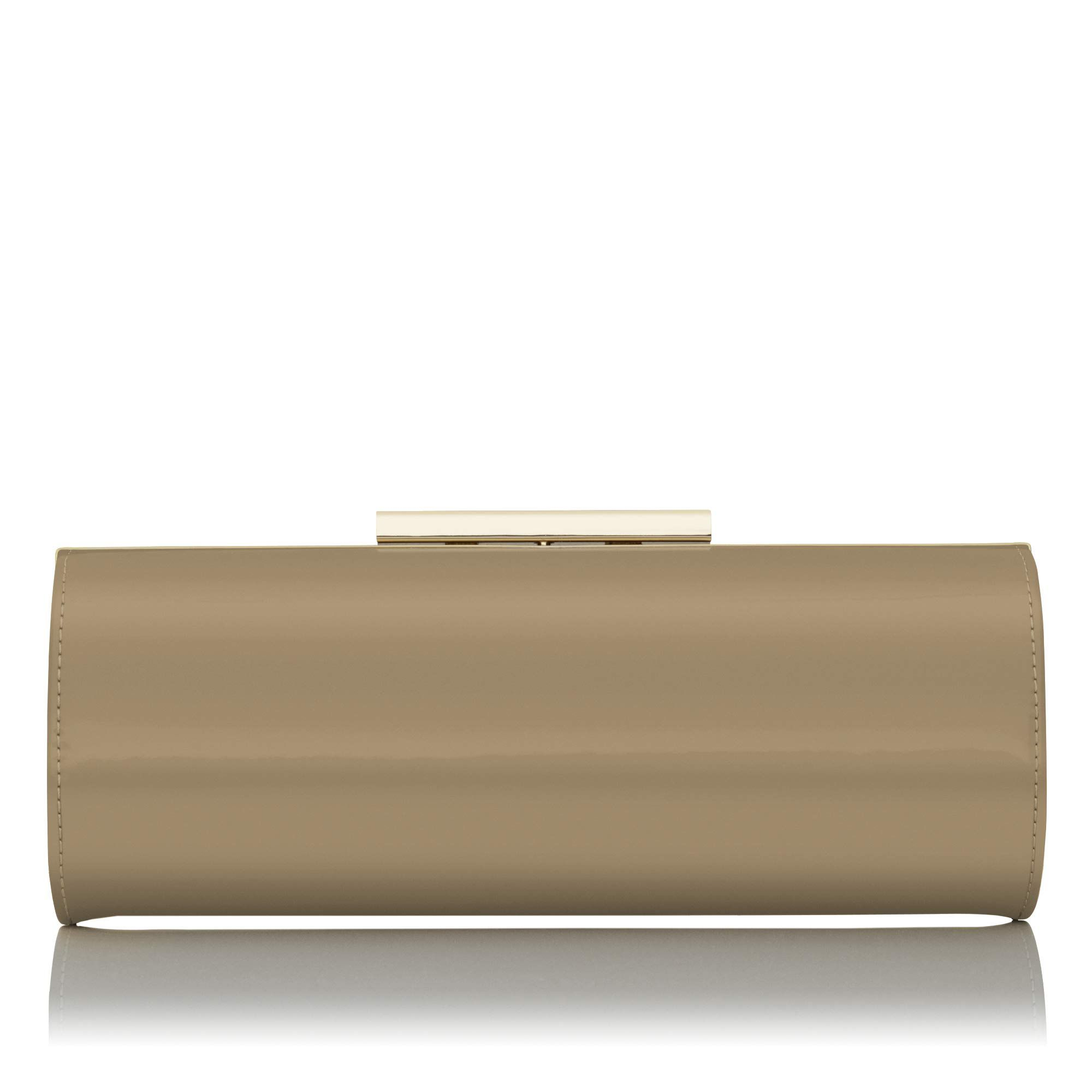 Avona taupe patent long roll clutch bag