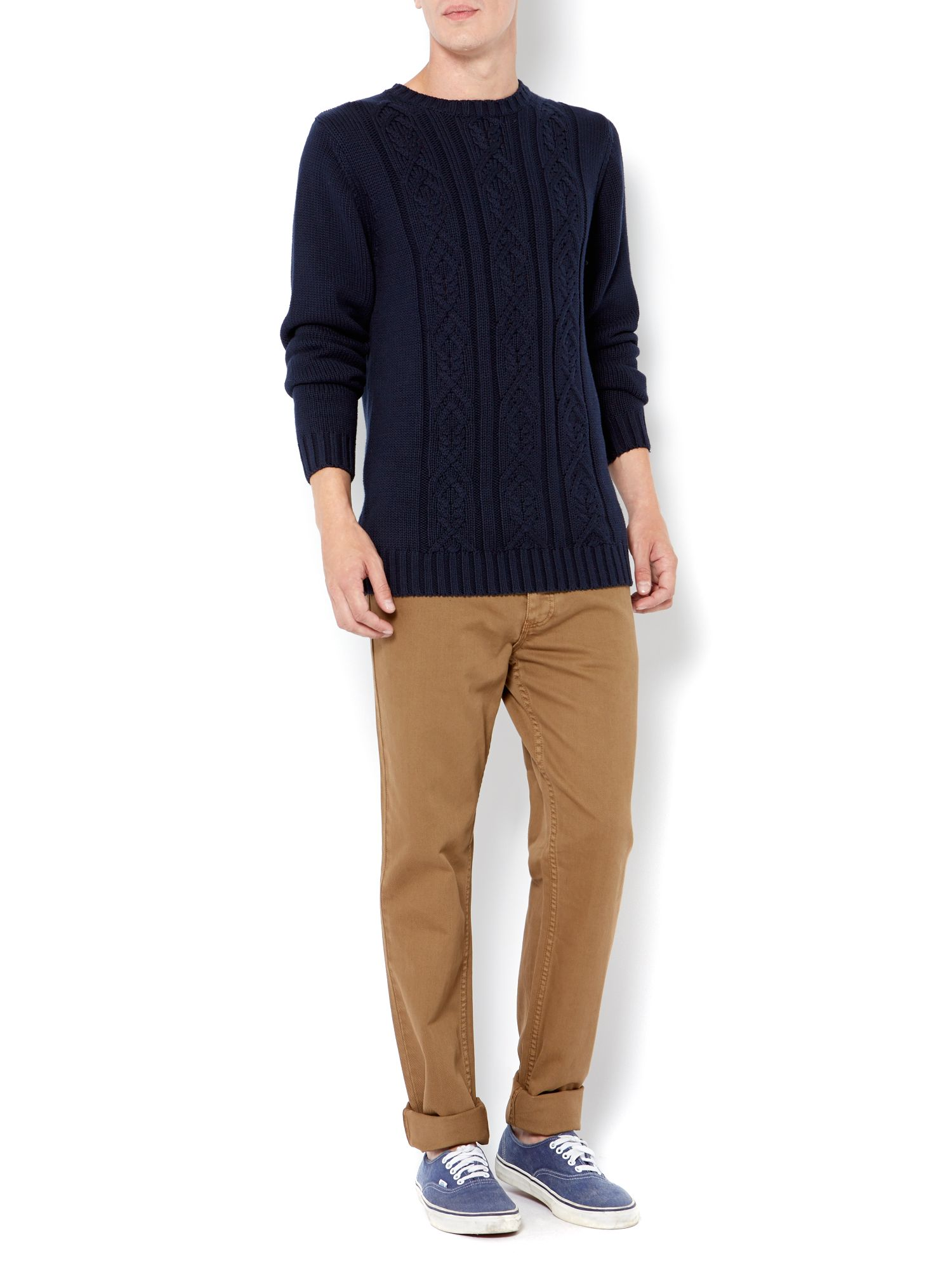 Gibson front cable knit jumper