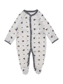 Boy`S Teddy Print All-In-One Sleepsuit
