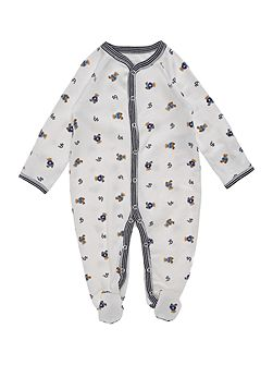 Boys Teddy Print All-In-One Sleepsuit