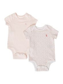 Polo Ralph Lauren Girl`s Pack Of 2 Printed Bodysuits