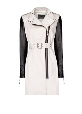 Mango Leather Sleeves Coat