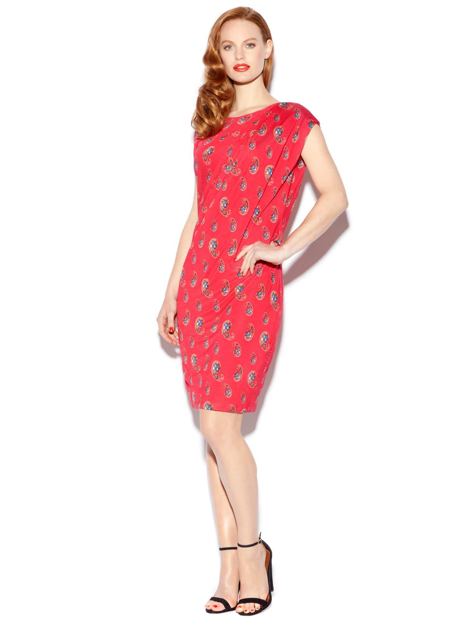 Paisley jewel print jersey dress