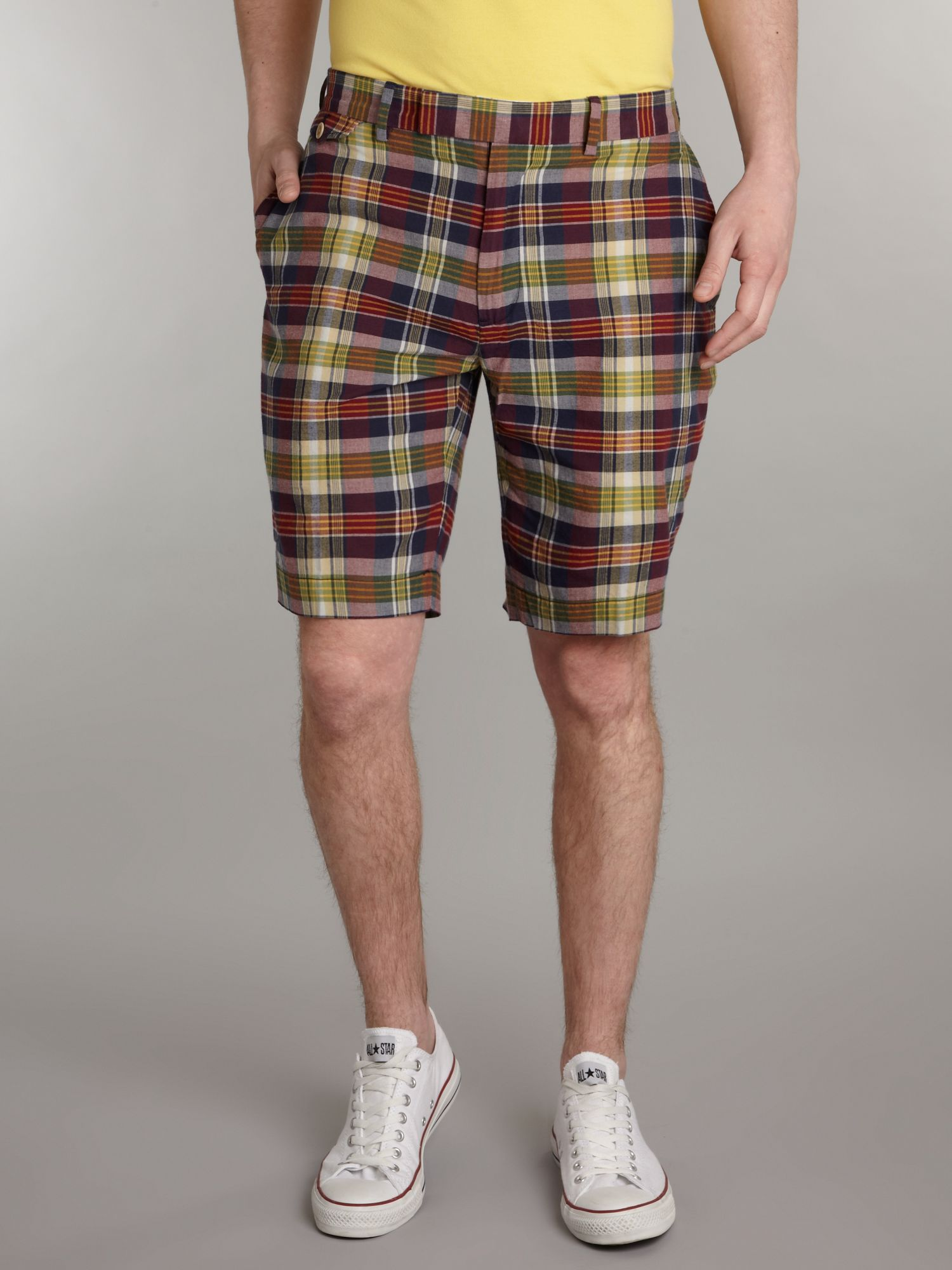 Barrow fit madras chino shorts