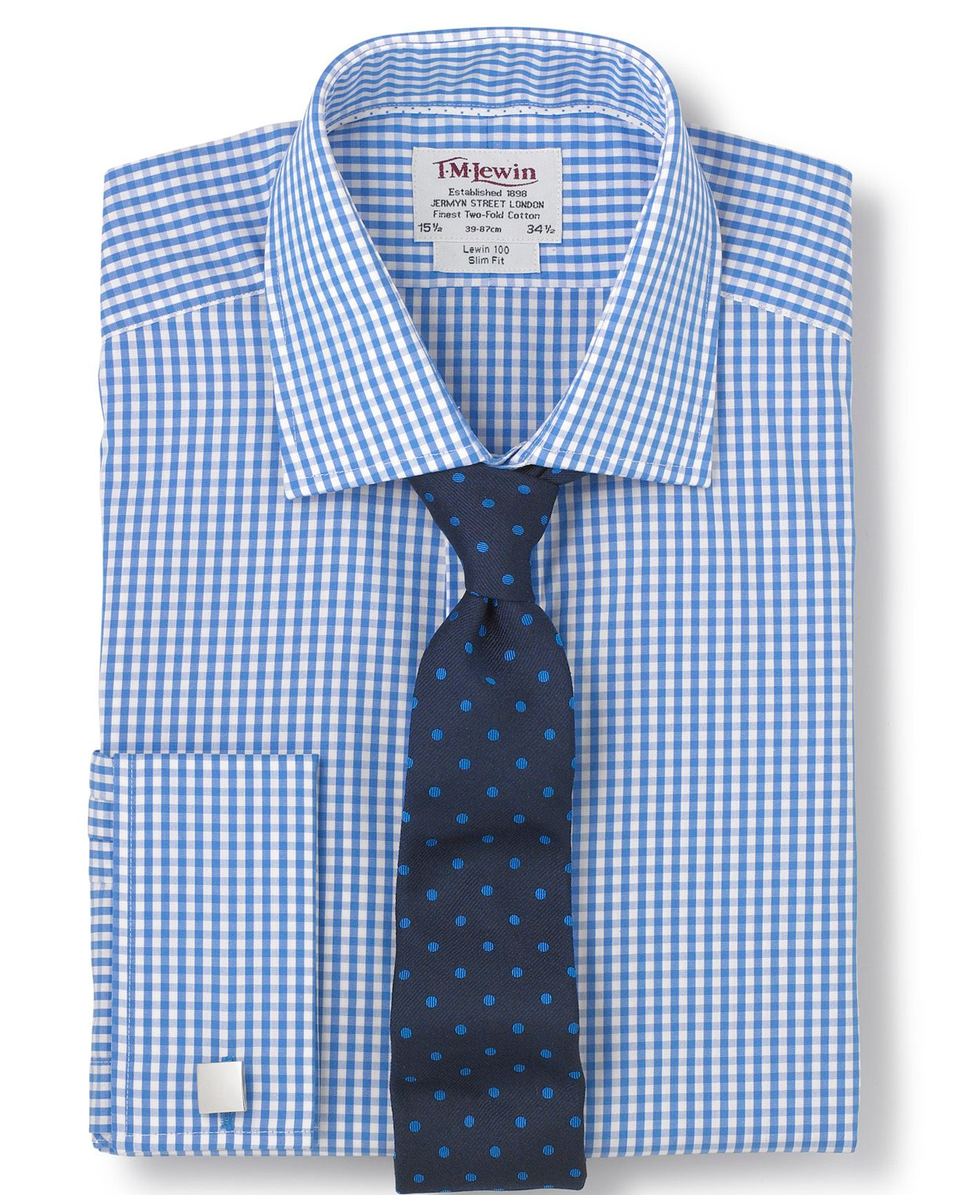 Blue gingham check shirts