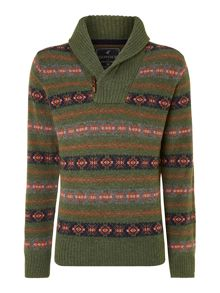 Hertiage fairisle shawl collar christmas jumper