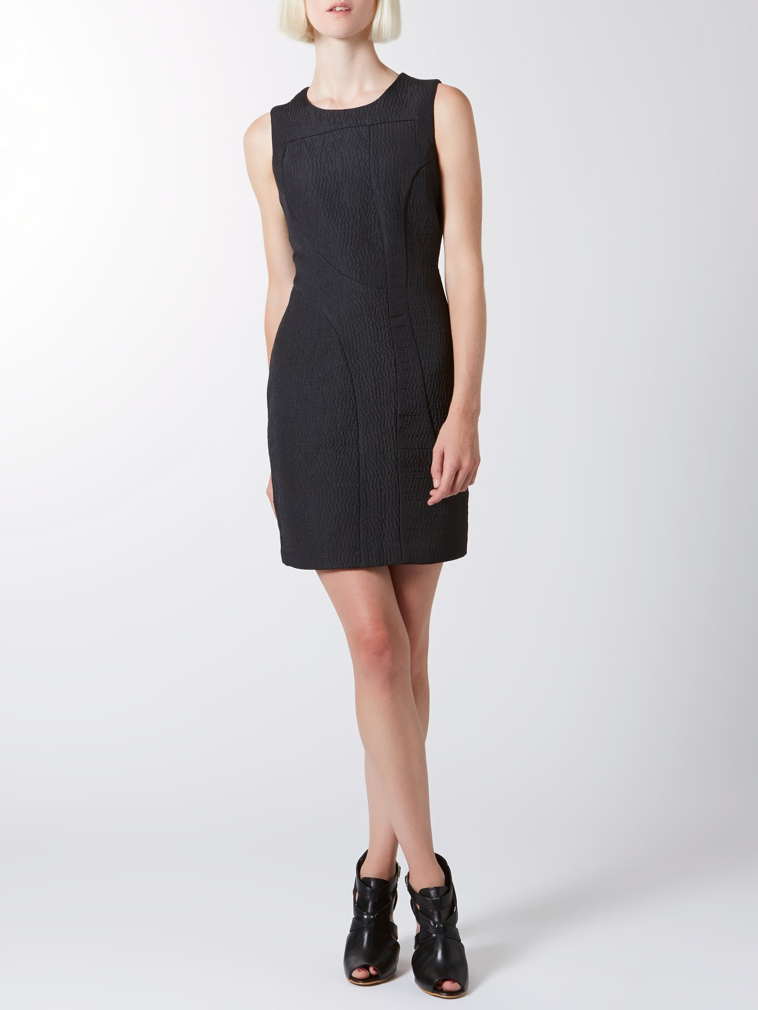 Textured seam detail shift dress