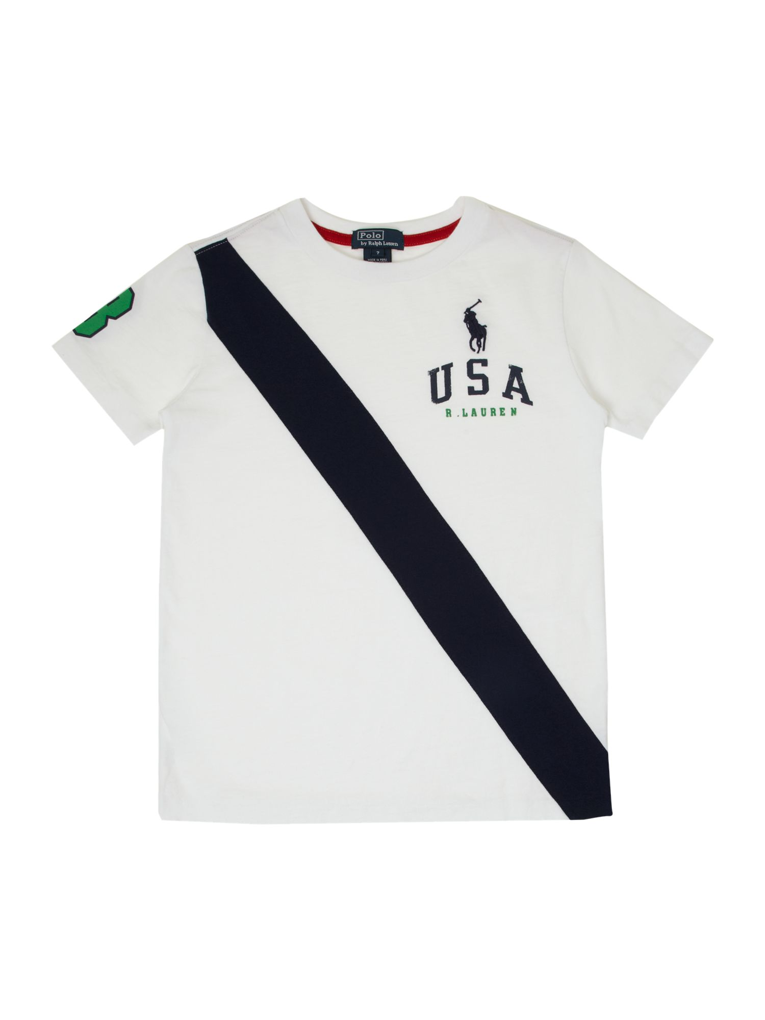 Boy`s diagonal stripe USA graphic T-shirt