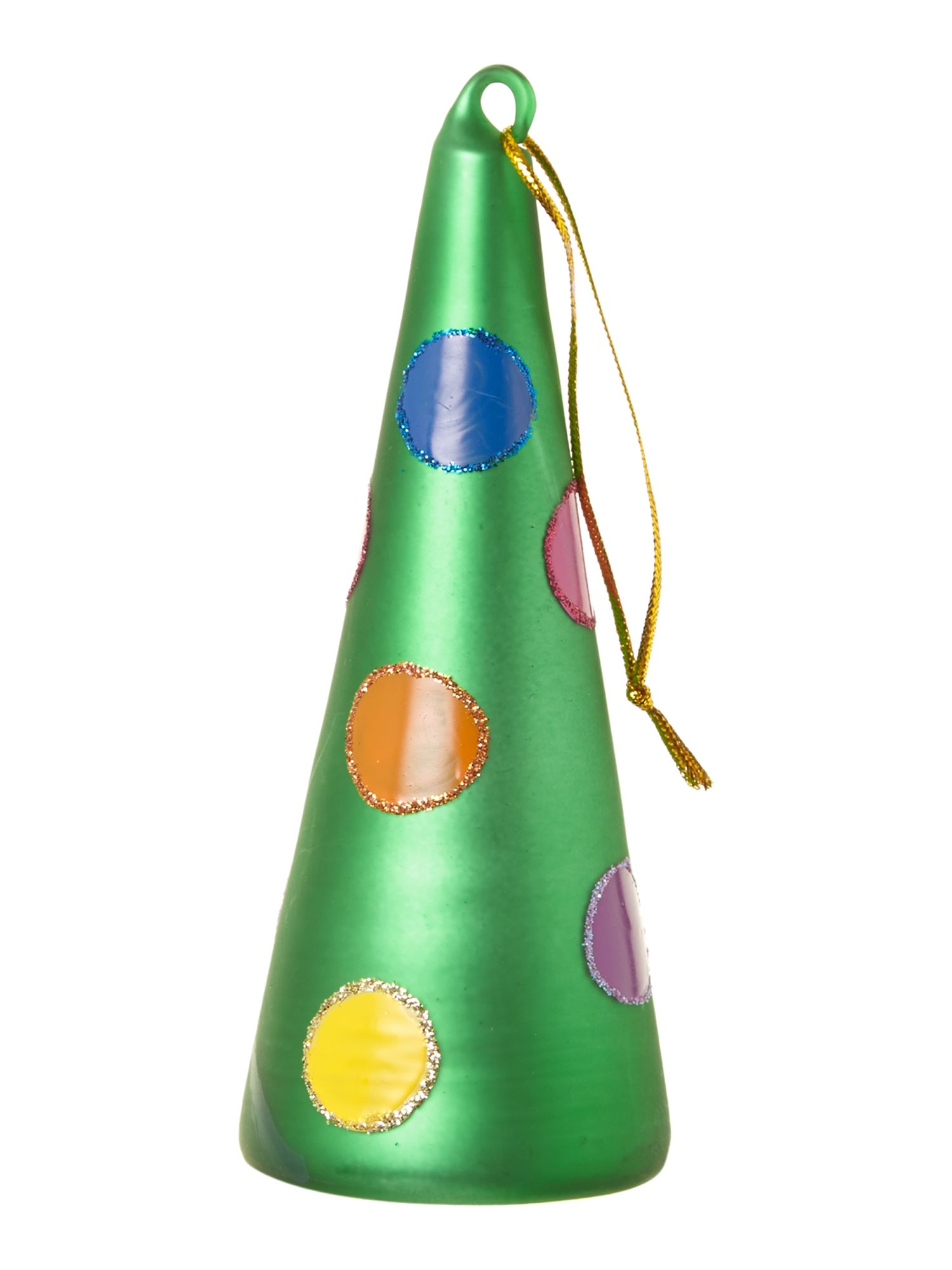 Frosty cone spotty tree decoration assorted