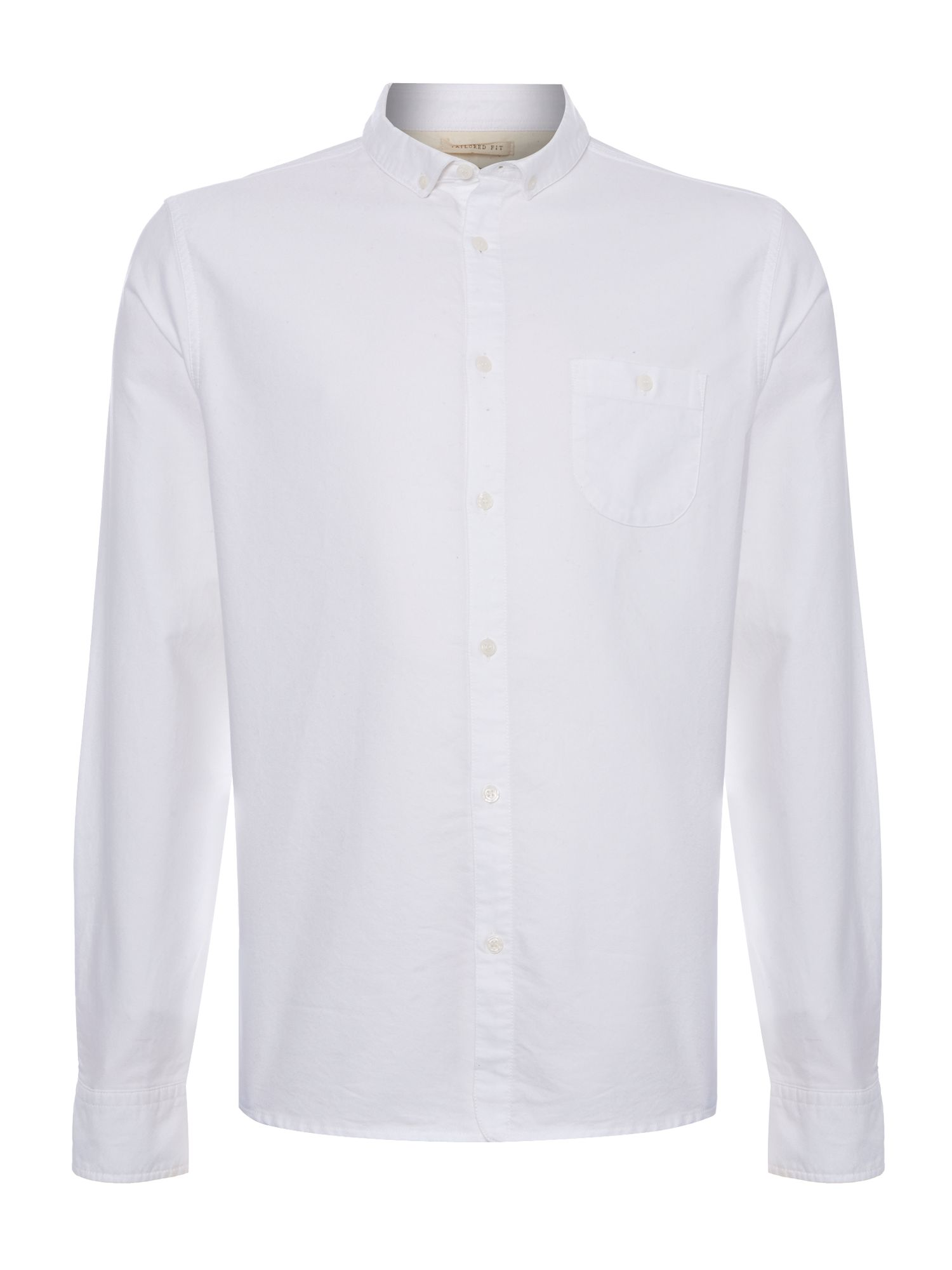 Avenue rounded pocket oxford long sleeve shirt