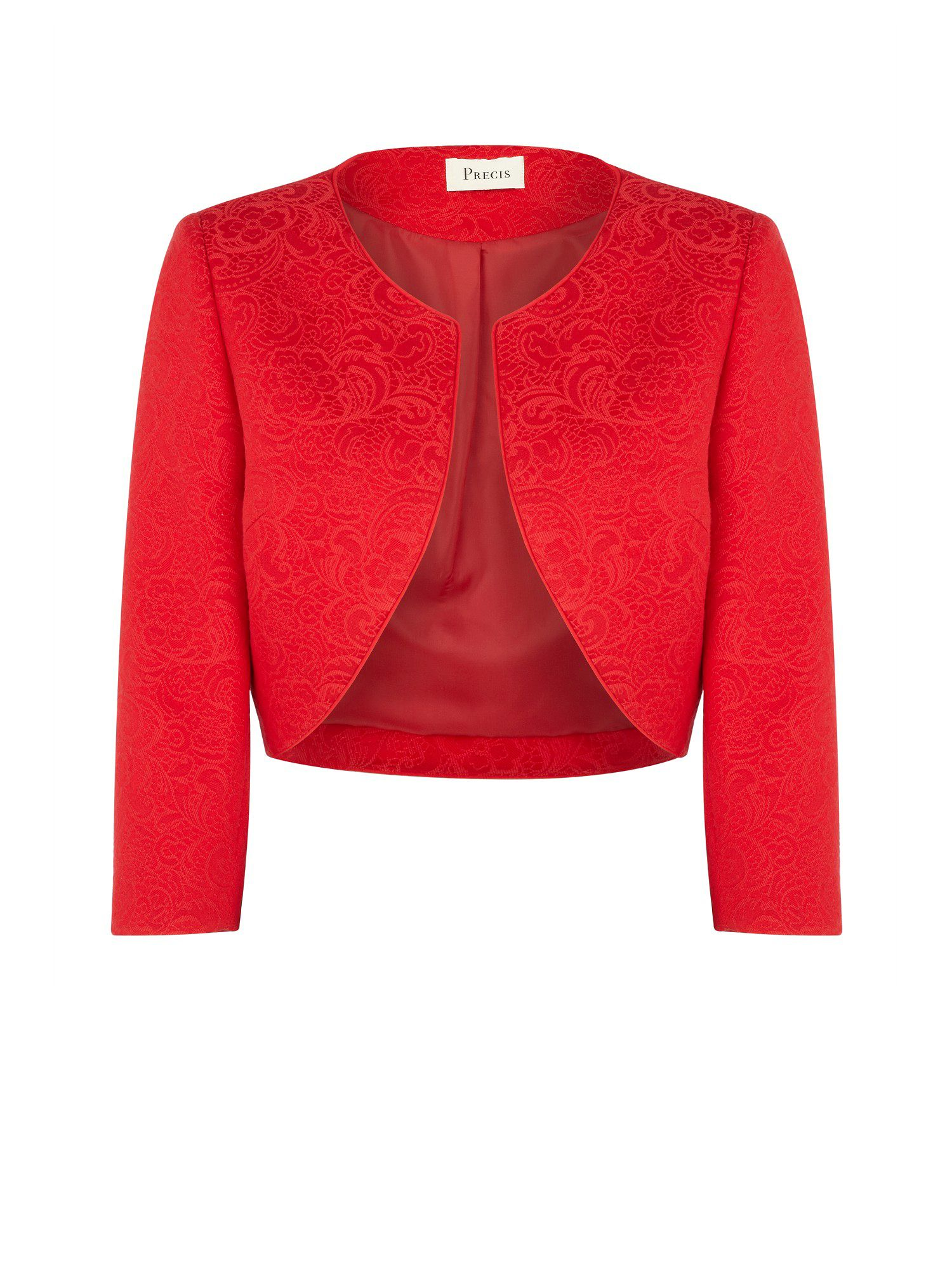Poppy red lace jacquard bolero