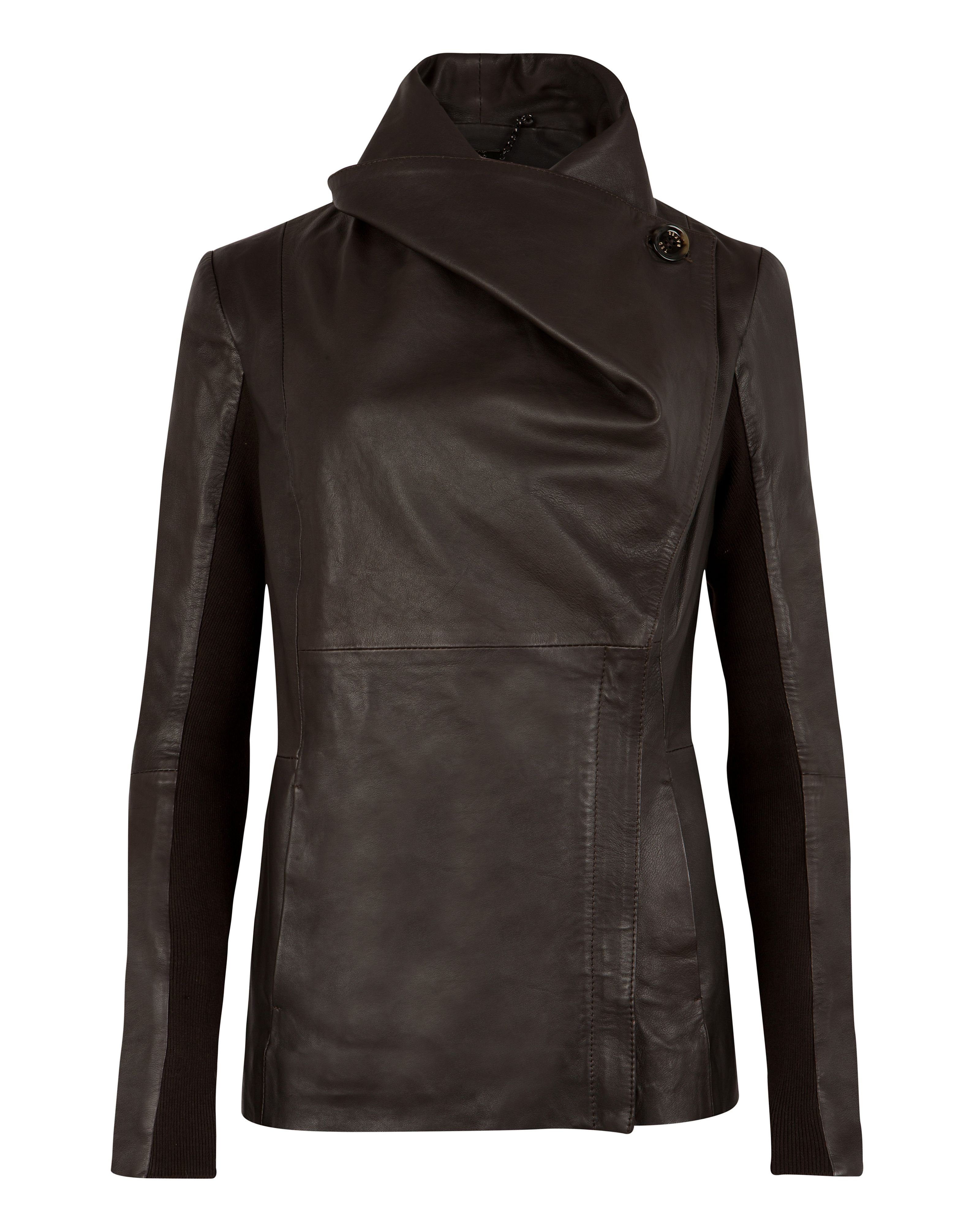 Haszel wrap over leather jacket