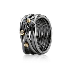 Oxdised Sterling Silver 14ct Gold Ring