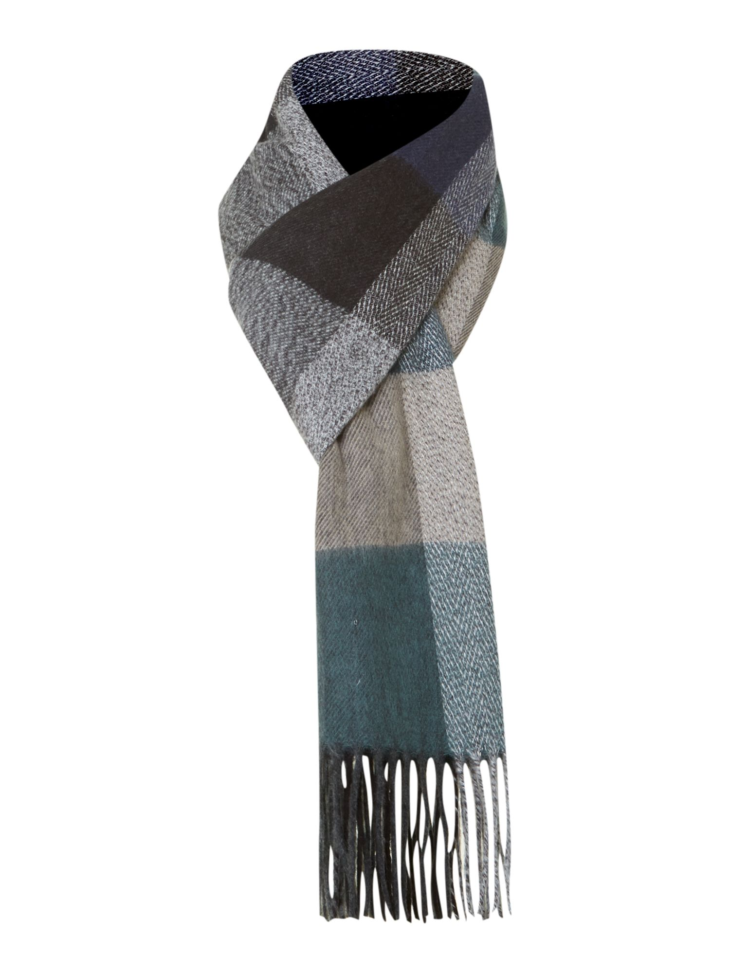Soft touch green check scarf