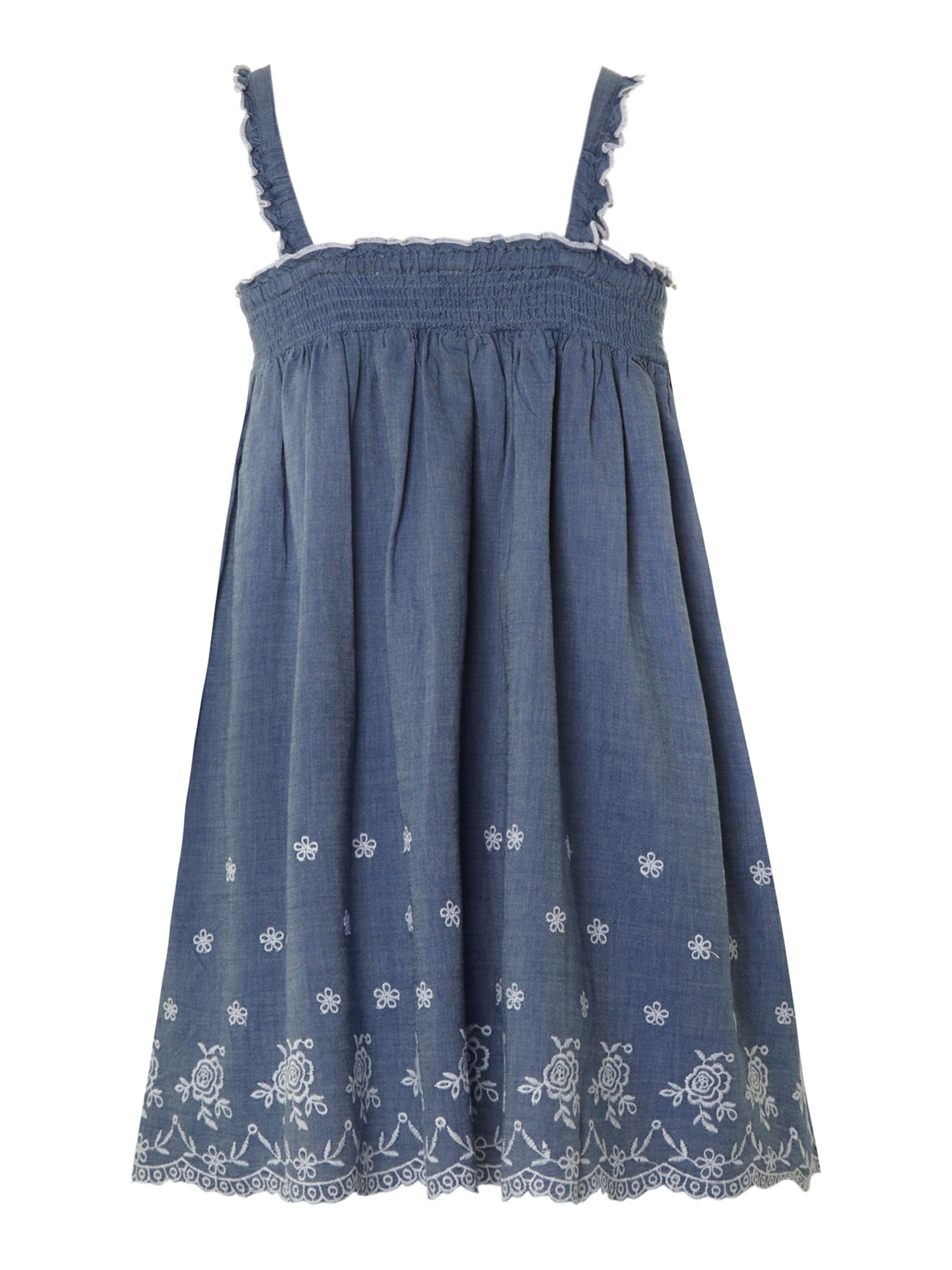 Girl`s chambray embroidered dress
