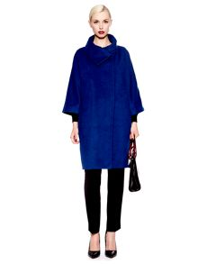 Funnel neck cocoon coat