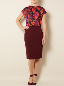 Lily print woven top
