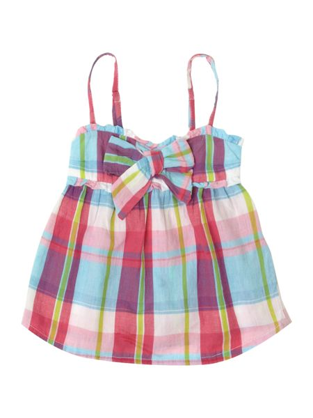 Benetton Girl`s checked strap top with bow detail