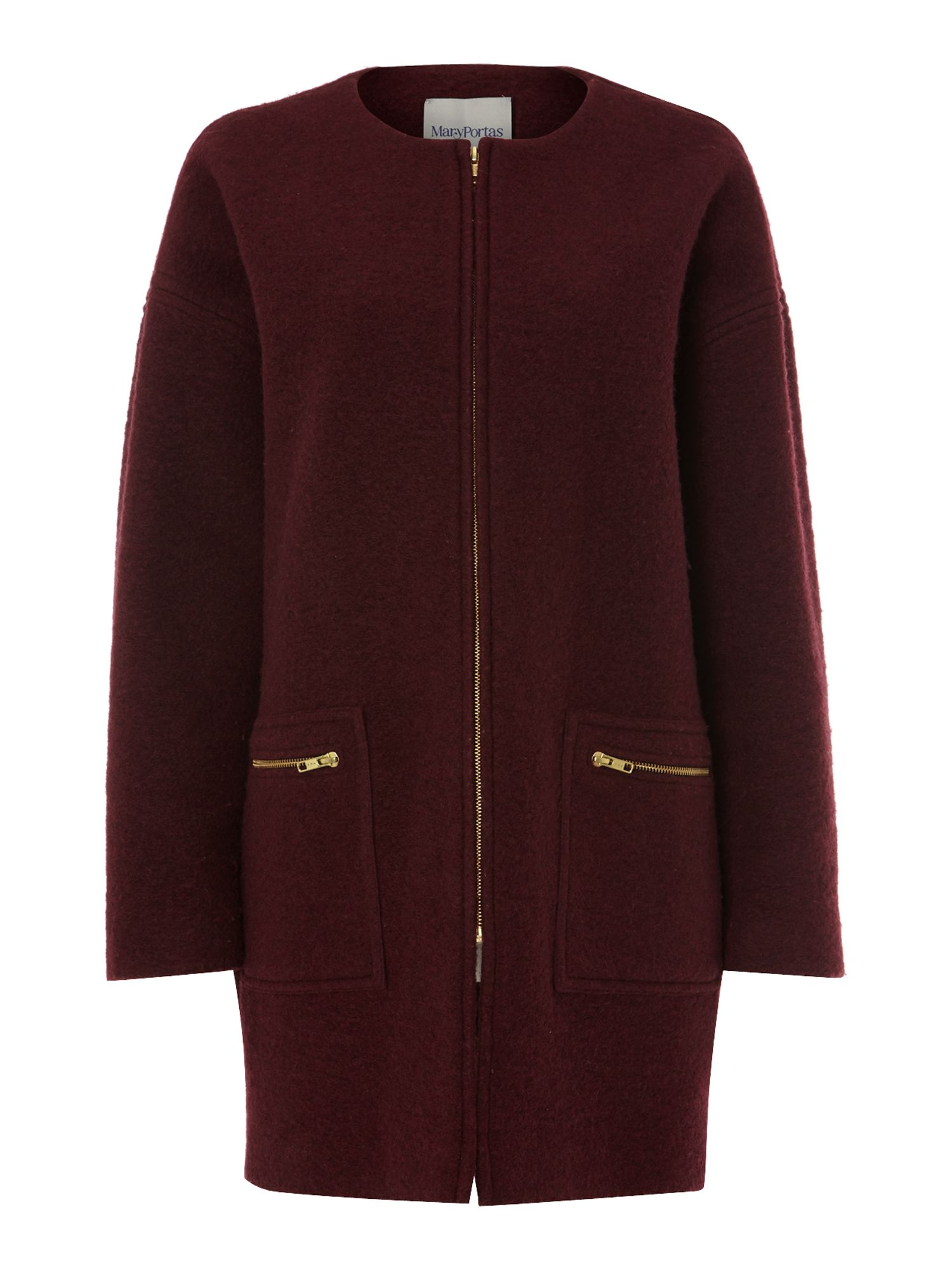 Boiled wool zip detail coat