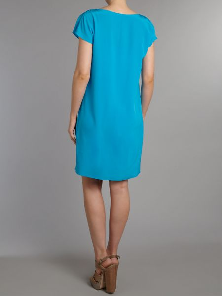 Lauren Ralph Lauren Short sleeve silk dress with tie waist