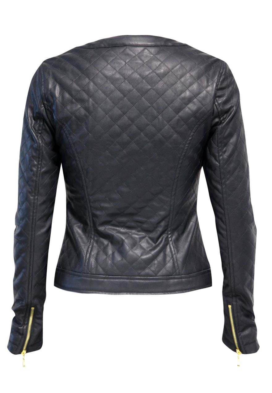 Quilted stud biker jacket