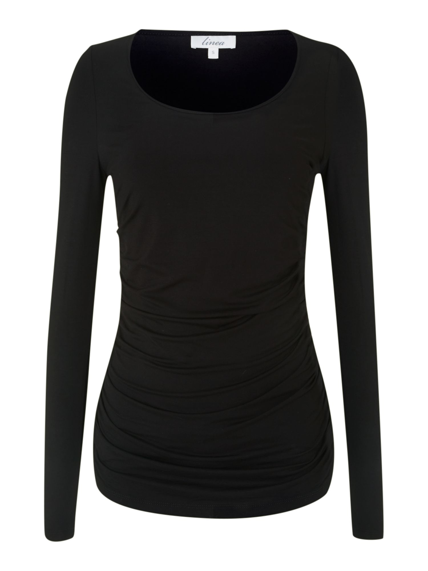 Essential l/s side ruch jersey top