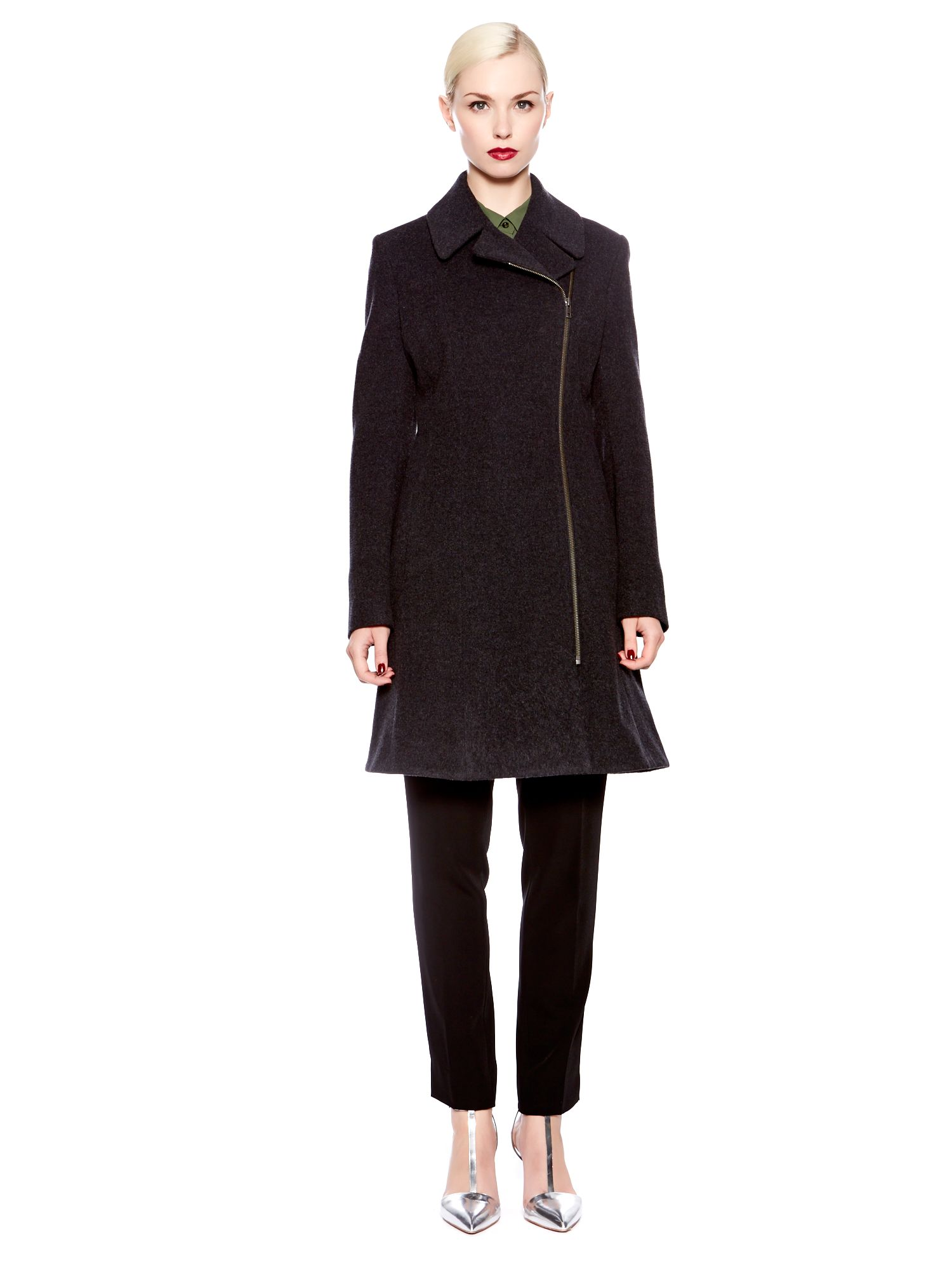 Assymetric fit and flare wool coat