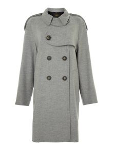 Long slleved button front funnel neck coat