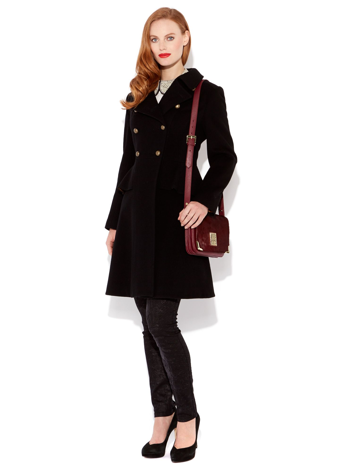 Peplum cashmere mix military coat
