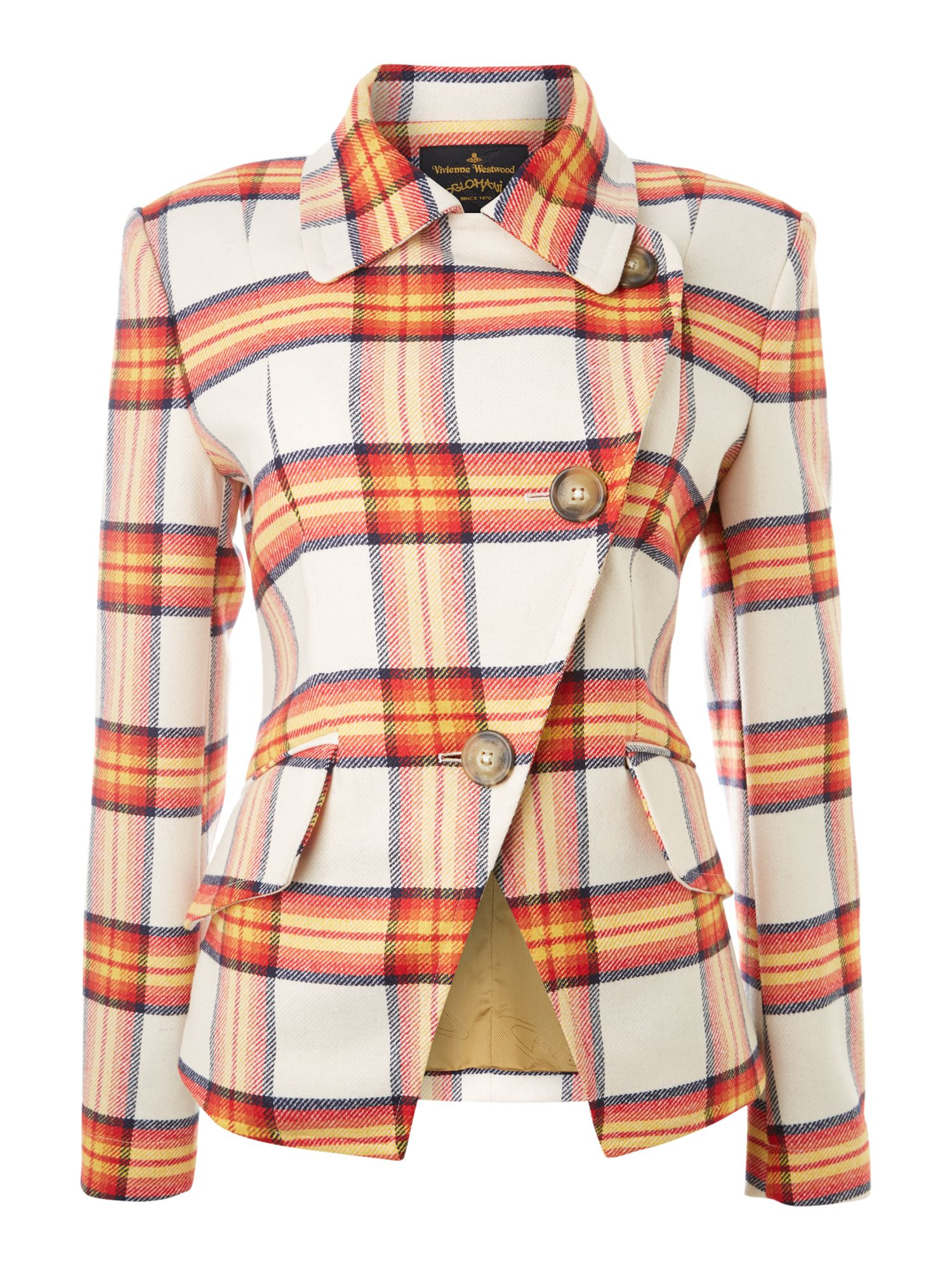 Long sleeved tartan blazer