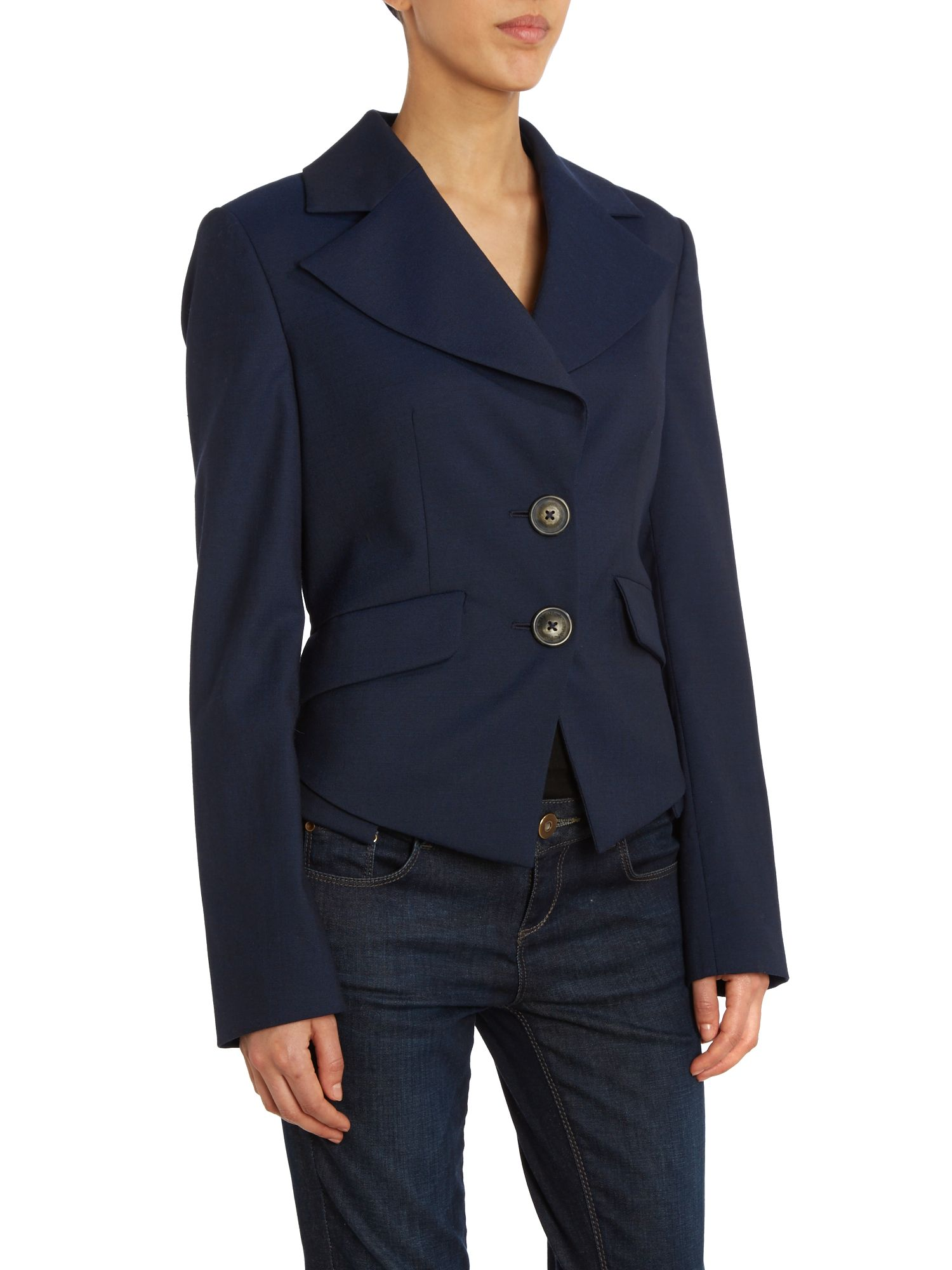 Long sleeved navy blazer
