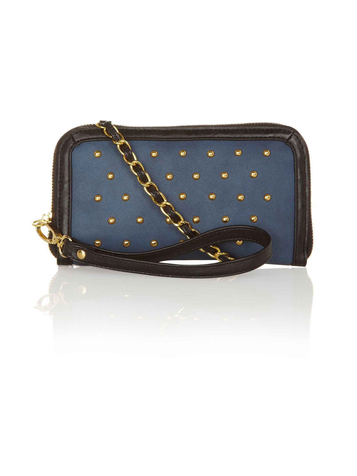 Studded clutch bag.